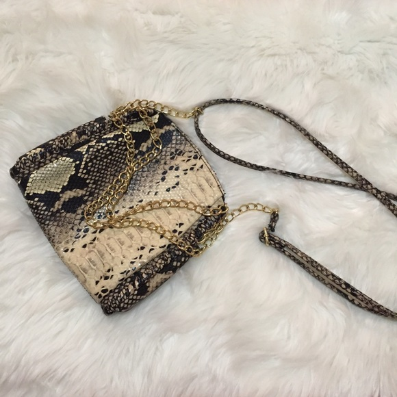 Snakeskin crossbody w/ gold chain accents